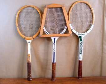 Vintage Tennis Rackets, Collection of Three Wood Racquets