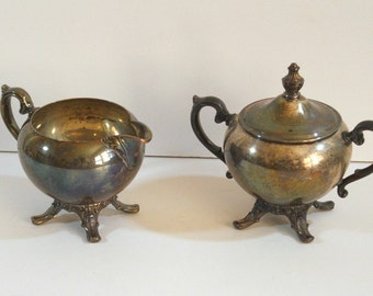 Vintage Silver Plate Cream And Sugar Set, WM Rogers Eagle and Star Mark
