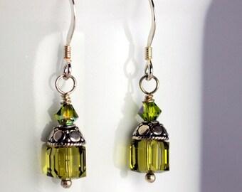 Olive Green Swarovski Crystal Cube & Bali Silver Earrings