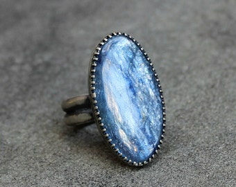 Blue Stone Ring - Kyanite Ring - Blue Gem Ring - Fancy Bezel - Big Oval Stone Ring - Kyanite Sterling Silver Ring - Blue Cabochon - US 8
