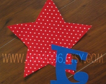 Star with Initial Iron On Applique, You Choose Fabric
