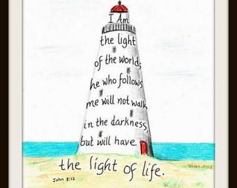 Inspirational Art Print Lighthouse Scripture Design