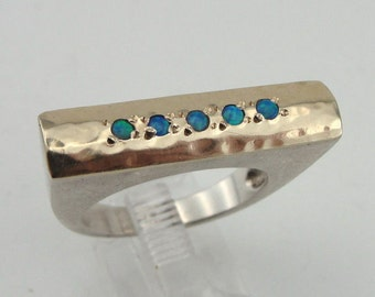 Lady Massive Fine 925 Silver  9K Yellow Gold  Opal woman Ring size 7.5 (r 10300