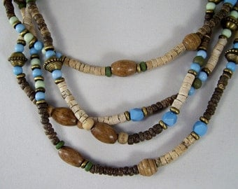 "Vintage 23"" Double Strand Necklace, Earthtones, Tan, Dark Brown,Turquiose and Green, Hippie Wooden Beaded Necklace, Natural Retro Jewelry"