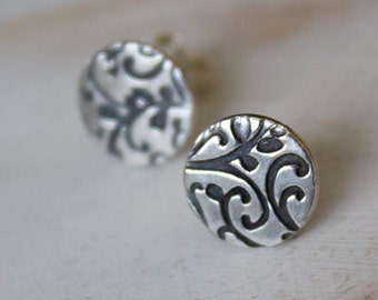 Small Round Silver Ivy Post Earrings - Botanical design solid sterling silver stud earrings
