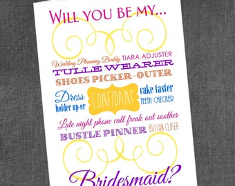 Bridesmaid/Maid of Honor Card (ANY COLOR)