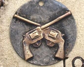 """1"""" Rustic Soldered Handgun Pendant Metal Raw Brass Bohemian Handgun Charm Metalwork, Metalsmith, Mixed Metals"""