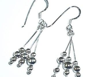 Sterling silver beaded dangle earrings