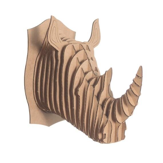Micro Robbie - Small Cardboard Rhino Head - Brown