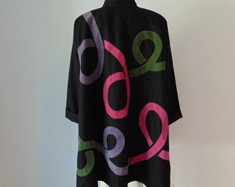 80s black wool swing coat AVANT GARDE with suede ribbons by Osgood Smuk free size