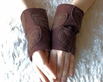 Brown Leafy Faery Woodland Fingerless Gloves, Applique Fleece Arm Warmers - Elven Clothing Accessories
