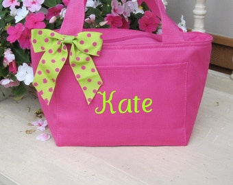 Monogrammed Hot Pink Insulated Lunch Bag Box Cooler Personalized Back to School