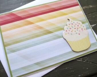 Single Cupcake on Rainbow Background - handmade greeting card