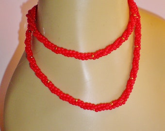 """VINTAGE Napier Valentine Red Necklace Choker Collar 30"""" Three Strand Twisted Glass Bead Lip Stick Red & Gold Signed Retro Chic Art Deco Diva"""