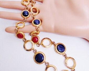 Vintage Liz Clairborne Necklace Choker Collar Art Glass Confetti Cabochon Chevron  High Fashion Classy Retro Art Deco Modern Statement