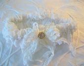 Bridal accessory Wedding garter Vintage lace remake Brides lingerie Vintage button trim Crinkled silk bow