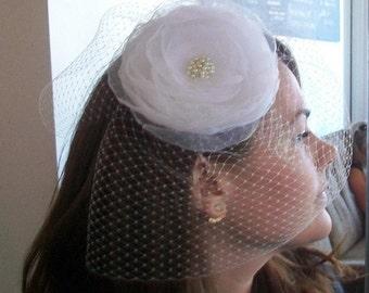 Bridal  Birdcage headpiece   White rose headdress   Brides barrette fascinator  Pearl centered organza rose