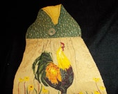 ROOSTER TOWEL #10 Button On, Green Tan, Rooster, Kitchen, Dishes, Camping BBQ Work Shop Lodge,  Cabin, Country, Primative,