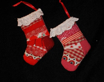 Miniature (#6) Patchwork Stocking Pair, Red  Scrappy Quilt Weight Fabric,Miniature. 3 Inches,  Satin Ribbon,  Country Decor, Hand Made US