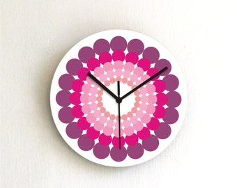 Pink Purple Polka Dots retro Modern kitchen unique bedroom handmade graphic design wall clock
