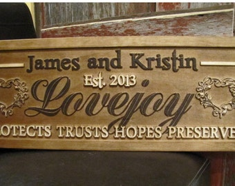 Wedding Gift  Personalized Family Name Signs custom CARVED Wooden Sign Last name Wedding Established Anniversary custom personalized sign