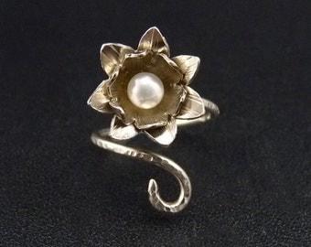 Lotus Sterling Silver Ring Handmade Metalwork