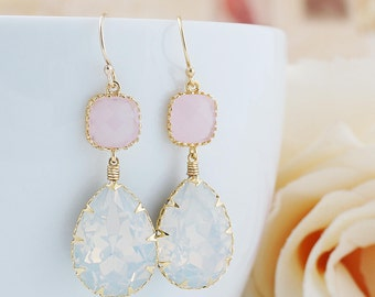 Bridesmaid Gift White Opal Swarovski Crystal GOLD FILLED Earrings Dangle Earrings drop Earrings Weddings gift Bridesmaid Jewelry (E-B-0111)