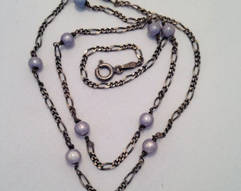 Oxidized Silver Figaro Chain with Lilac Fibre Optic Beads