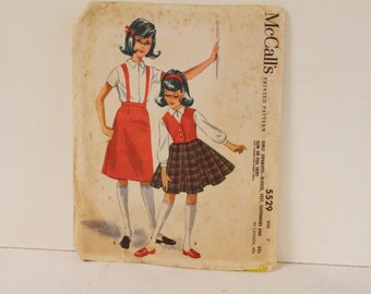 Vintage 1960s McCalls Girls' Separates blouse, vest, suspenders and full or full skirt  Pattern 5529 Size 7