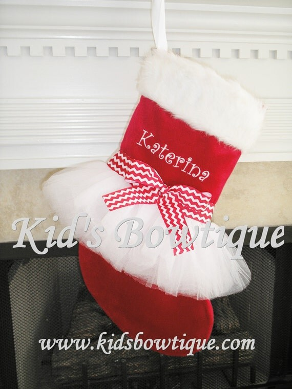 Tutu Christmas Stocking- Personalized Red Chevron Christmas Stocking - Monogrammed Holiday Tutu Stocking