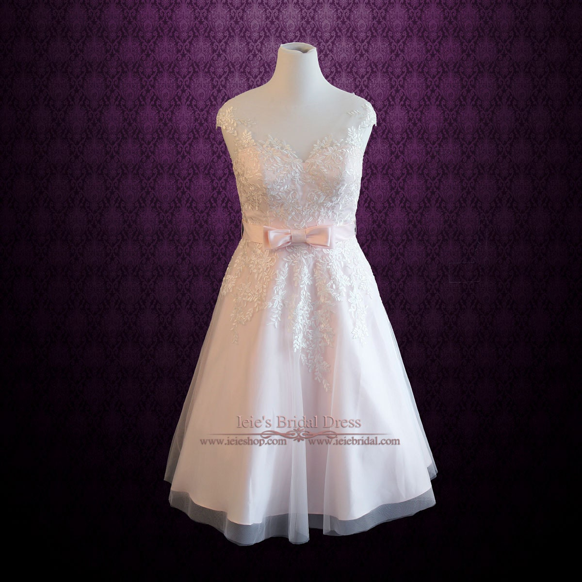 Pink Wedding Dresses Tea Length : Plus size frosty pink tea length lace wedding dress short