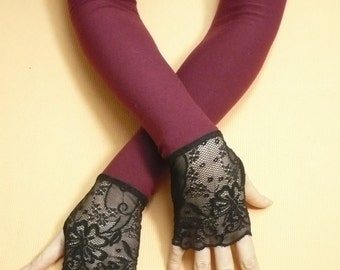 Long Fingerless Burgundy Gloves with Lace Gothic Style, Stretchy Armwarmers w. Thumb Holes, Belly Dance, Vampire Wedding, Noir, Fusion DAnce