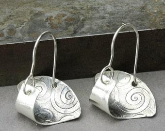 Sterling Silver Scoop Earrings, Swirl Texture Sterling Dangle Earrings, Unique Silver Jewelry, Simple Silver Earrings