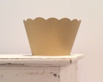 Gold Cupcake Wrappers Pearl Shimmer Finish