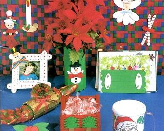 Christmas Craftsticks Wooden Popsicle Stick Angel Candy Cane Sleigh Card Holder Box Snowflake Reindeer Santa Claus Craft Pattern Leaflet 345
