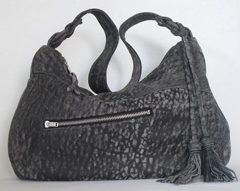 Grey Leather Handbag ... Stonewash-Look Slouchy Hobo Bag