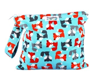 Wet Bag for Cloth Diapers, Mama Cloth, Potty Training, Wet Swimsuits, etc. - Foxy - Diaper Bag Essential - Great Baby Shower Gift -