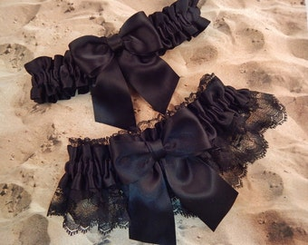 All Black Satin Black Lace Wedding Bridal Garter Toss Set