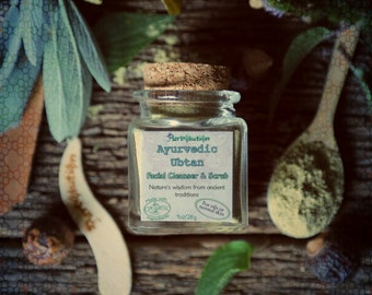 Ayurvedic Ubtan Organic Facial cleanser and scrub. Natural polish for normal and problem skin. In a recycled glass jar VEGAN 1 oz