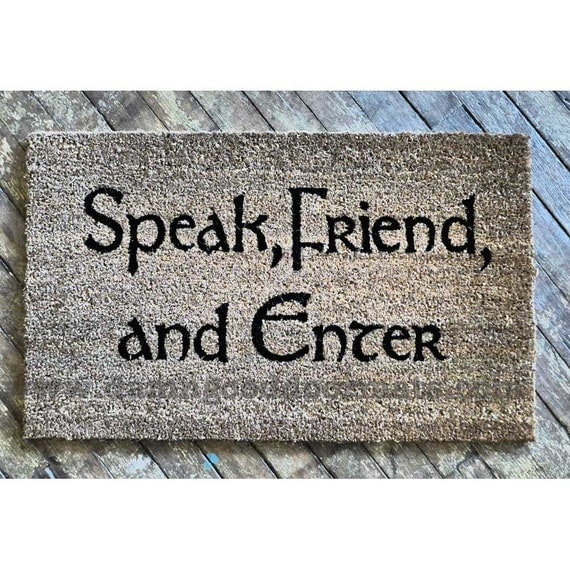 Tolkien - Speak, Friend, and Enter- doormat geek stuff