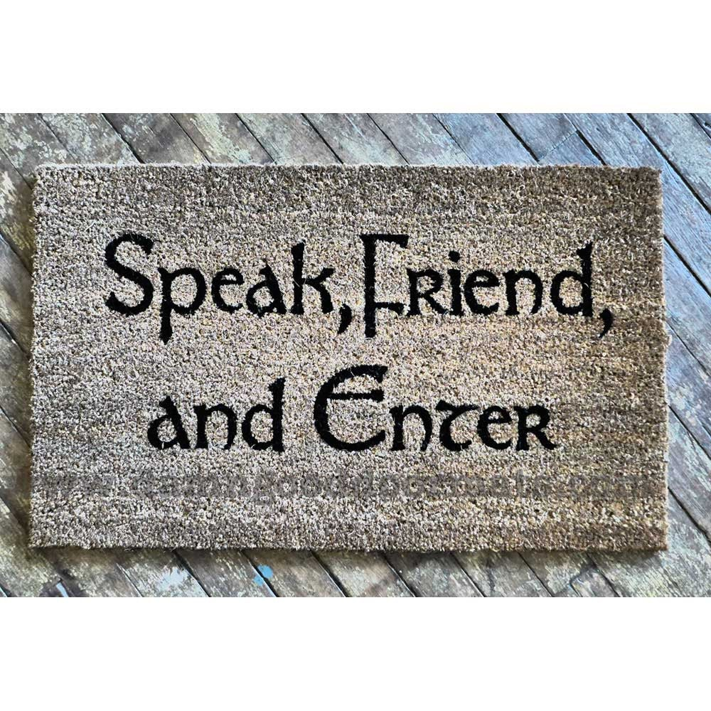 Tolkien speak friend and enter doormat geek by damngooddoormats - Geeky doormats ...