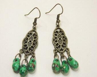 Beaded Green Glass Pebble Earrings in Antique Brass