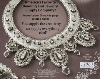 Silver Wedding Set, FireMountain Contest Winner, Swarovski Bead Embroidered Necklace and Earrings, OOAK