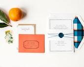 Simple Wedding Invitation, Plaid Wedding Invitation, Letterpress Wedding Invitation, Invitation Suite, Summer Wedding Invitation, Picnic