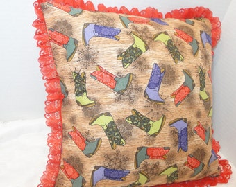 "Cowboy boot Christmas Pillow cover, diva cowgirl sparkle xmas cushion cover, brown, red, green, with red lace trim, 12 inches, 14"", 16"""