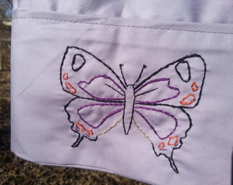 Hand embroidered Hairstreak Butterfly purple standard pillowcase