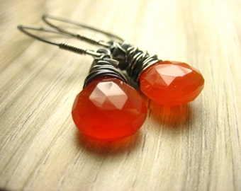 Warm glowing red carnelian gemstone Sterling Silver Earring oxidized gray earthy dangle wire wrapped simple gemstone jewelry