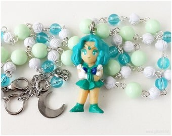 Sailor Neptune Figure Necklace, Beaded Rosary Chain, Silver - Magical Girl, Kawaii Jewelry