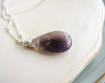 Purple Amethyst Necklace Briolette Pendant Necklace Wire Wrapped Purple Stone Necklace Stone Necklace Minimalist Layerin