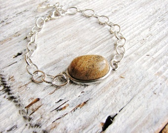 Jasper Bracelet Tan Stone Oval Bracelet Naturalist Jewelry Silver Chain Jewelry Stackable Statement Jewelry Geology Bracelet Minimalist